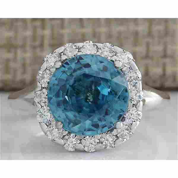 7.58 CTW Natural Blue Zircon And Diamond Ring 18K Solid
