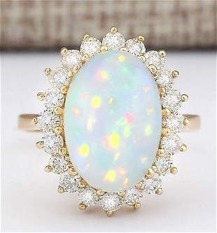 7.15 CTW Natural Opal And Diamond Ring In 14k Yellow