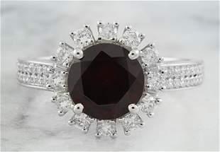 2.65 CTW Garnet 18K White Diamond Ring