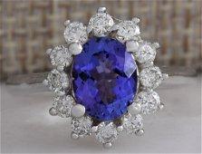 2.45 CTW Natural Blue Tanzanite And Diamond Ring 18K