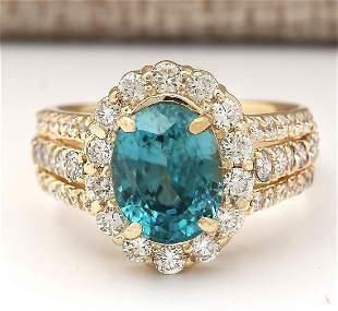 5.89 CTW Natural Blue Zircon And Diamond Ring 18K Solid