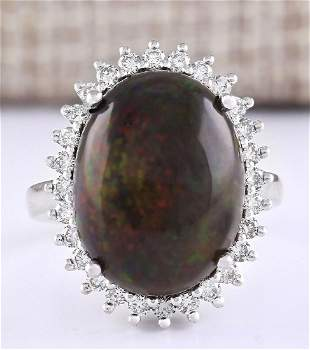 8.66 CTW Natural Black Opal And Diamond Ring In 18K