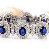 27.50 CTW Natural Sapphire 18K Solid White Gold Diamond