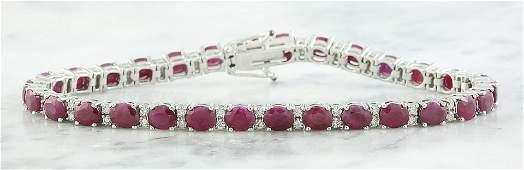 14.00 CTW Ruby 18K White Gold Diamond Bracelet