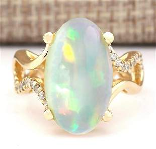 6.50 CTW Natural Opal And Diamond Ring In 18K Yellow