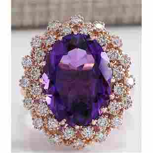 9.19CTW Natural Amethyst And Diamond Ring In 14K Solid