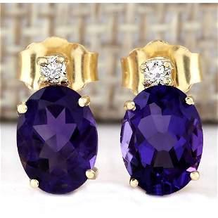 2.55 CTW Natural Amethyst And Diamond Earrings 18K