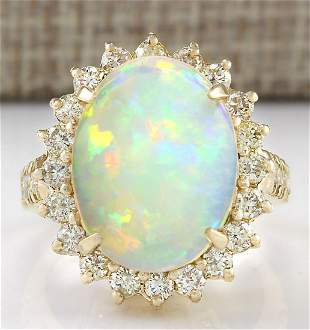 6.48 CTW Natural Opal And Diamond Ring In 18K Yellow