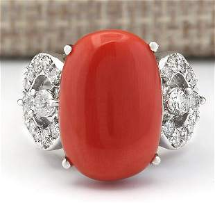 10.20 CTW Natural Coral And Diamond Ring In 18K White
