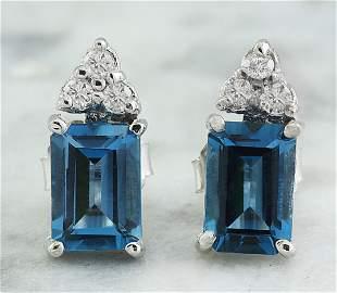 2.65 CTW Topaz 18K White Gold Diamond Earrings
