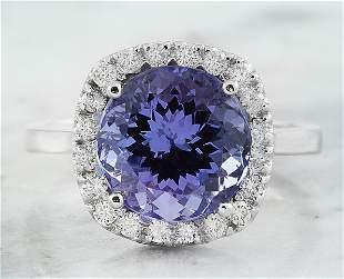 6.02 CTW Tanzanite 14K White Gold Diamond Ring