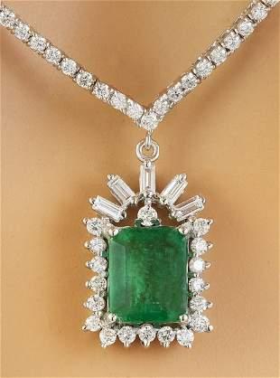 8.53 CTW Emerald 14K White Gold Diamond Necklace