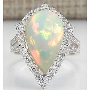 7.13 CTW Natural Opal And Diamond Ring In 18K White