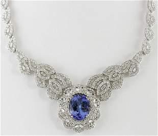 31.51 CTW Natural Tanzanite And Diamond Necklace 18K