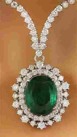 9.45 CTW Emerald 18K White Gold Diamond Necklace