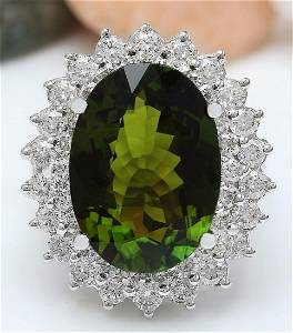 10.29 CTW Natural Tourmaline 14K Solid White Gold
