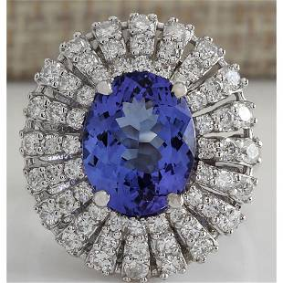 5.45 CTW Natural Blue Tanzanite And Diamond Ring In 18K