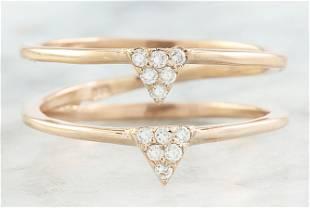 0.12 CTW Diamond 18K Dual Triangle Rose Gold Ring