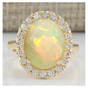 4.90 CTW Natural Opal And Diamond Ring In 14K Yellow