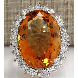 17.30 CTW Natural Citrine And Diamond Ring 18K Solid