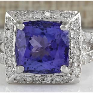 9.10 CTW Natural Blue Tanzanite And Diamond Ring 18K