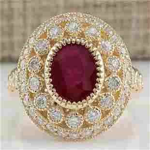 3.64 CTW Natural Ruby Diamond Ring 18K Solid Yellow