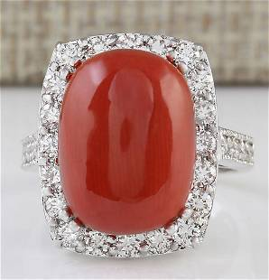 12.32 CTW Natural Coral And Diamond Ring In 18K White
