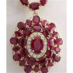 53.68 CTW Natural African Ruby And Diamond Necklace In