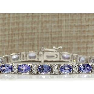 11.01CTW Natural Tanzanite And Diamond Bracelet In 18K