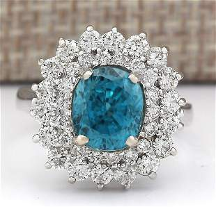 6.24 CTW Natural Blue Zircon And Diamond Ring 18K Solid