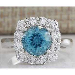 5.33 CTW Natural Blue Zircon And Diamond Ring 18K Solid