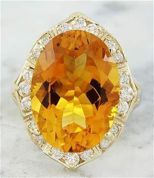 12.20 CTW Citrine 14K Yellow Gold Diamond Ring