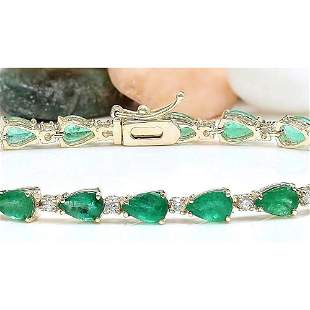 9.02 CTW Natural Emerald 18K Solid Yellow Gold Diamond