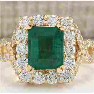 4.05 CTW Natural Emerald And Diamond Ring In 18K Yellow
