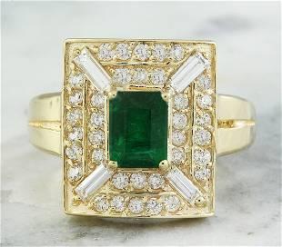 2.40 CTW Emerald 18K Yellow Gold Diamond Ring