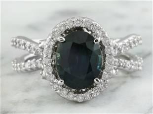 3.49 CTW Sapphire 18K White Gold Diamond Ring
