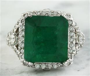 6.48 CTW Emerald 14K White Gold Diamond Ring