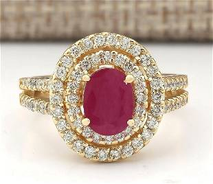 3.08 CTW Natural Ruby Ring In 18K Yellow Gold