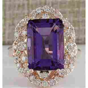7.78 CTW Natural Amethyst And Diamond Ring In 18K Rose
