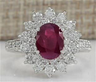 3.25 CTW Natural Ruby And Diamond Ring In 18K White