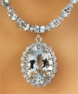 38.80 CTW Aquamarine 18K White Gold Diamond Necklace
