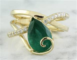 3.55 CTW Emerald 14K Yellow Gold Diamond Ring