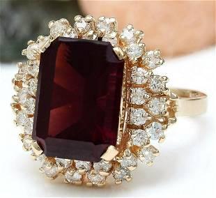 9.35 CTW Natural Tourmaline 14K Solid Rose Gold Diamond