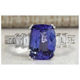 3.75 CTW Natural Blue Tanzanite And Diamond Ring In 18K