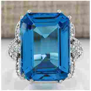20.40 CTW Natural Blue Topaz And Diamond Ring In 14K