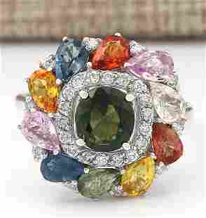 8.91 CTW Natural Sapphire And Diamond Ring In 14k White