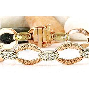 1.00 CTW Natural Diamond 18K Solid Two Tone Gold