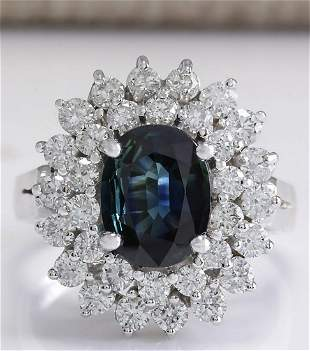3.32 CTW Natural Blue Sapphire Diamond Ring 14K Solid