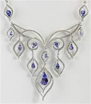17.73 CTW Natural Tanzanite And Diamond Necklace In 18K
