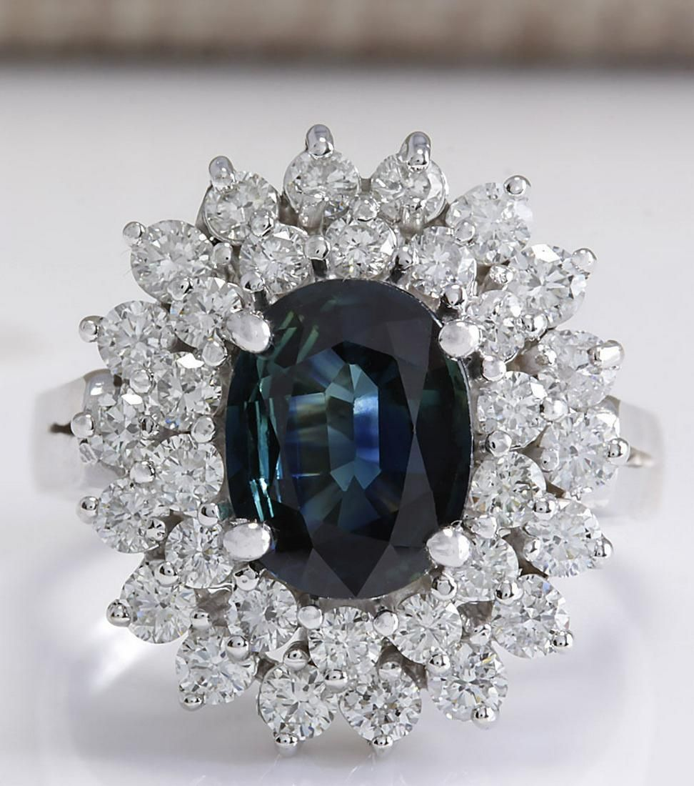 3.32 CTW Natural Blue Sapphire Diamond Ring 18K Solid